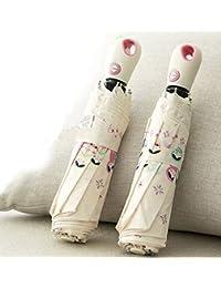 ホワイトレディース傘キュート中国人形Foldパラソル自動開く/閉じる雨傘