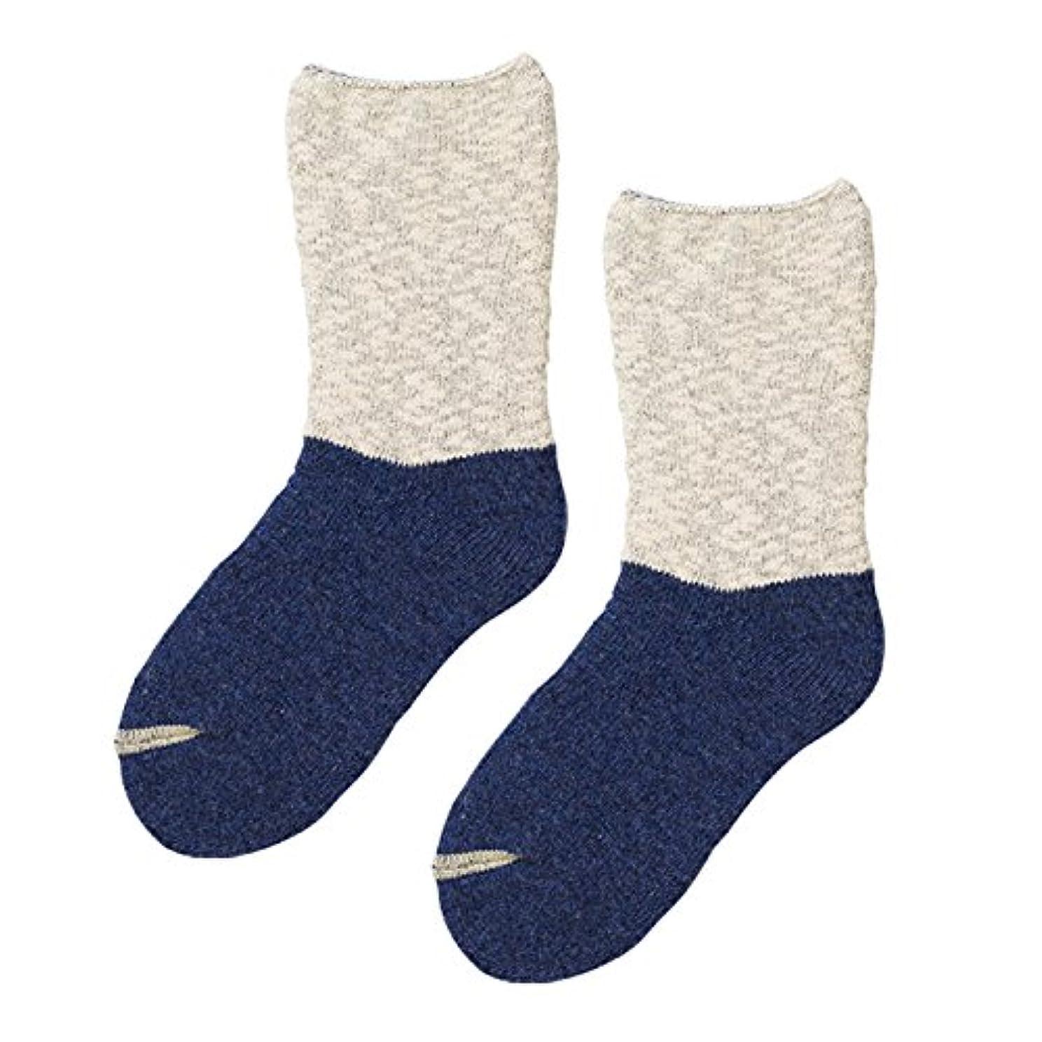 ぞっとするような蓋ダイアクリティカル砂山靴下 Carelance(ケアランス) お風呂上りの靴下 コットンパイル 8591CA-70 ブルー