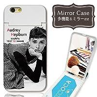 301-sanmaruichi- iPhoneXS ケース iPhoneX ケース ミラーケース 鏡付き ミラー付き カード収納 おしゃれ オードリーヘップバーン paris B