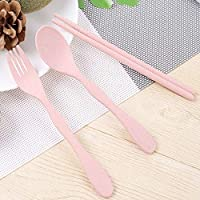 LUOWANXIU ホームキッチンツール 子供スプーンフォーク箸ポータブルスリーピースセット キッチン用品 (色 : ピンク)