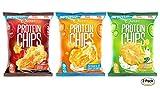 プロテイン チップス(Protein Chips) サワークリーム&オニオン, バーベキュー, チェダーサワークリーム バラエティパック 6袋セット [並行輸入品]
