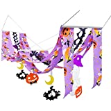 ハロウィン装飾 ハロウィンプリーツウェーブペナント 紫 L140cm 24064