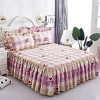 ベッドスカートスタイルのベッドカバー、コットンベッドスカート防塵フリル、花柄ベッドスカート、しわになりにくい/伸縮性/滑り止め,M,150x200cm(59x79inch)