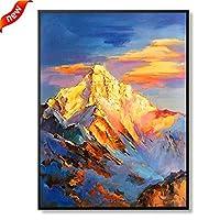 壁飾り 装飾画、100%純粋な手描きの油絵金山、廊下ポーチのリビングルームの装飾画、大きな垂直 (Color : Black, Size : 60*90cm)