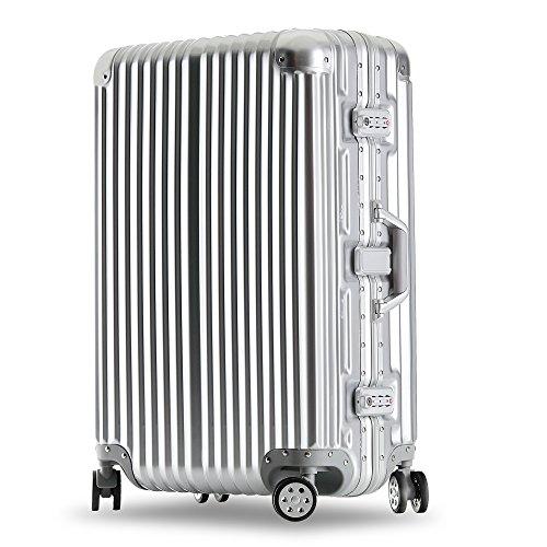 クロース(Kroeus)スーツケース キャリーケース 耐衝撃 仕切り板 クロスベルト付き メッシュポケット 海外旅行 出張 360度静音キャスター 保護用ガード TSAロック 大容量 S シルバー