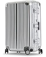 クロース(Kroeus)スーツケース キャリーケース 耐衝撃 仕切り板 クロスベルト付き メッシュポケット 海外旅行 出張 360度静音キャスター 保護用ガード TSAロック 大容量 M シルバー