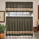 刺繍mini-plaidカーテン、キッチンのカーテン、格子柄のカーテン、バスルームのカーテン、É 60