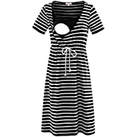 Bhome Nursing Tank Dress Maternity Sleeveless Breastfeeding Dress Casual Knee Length