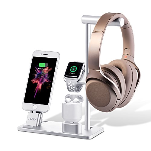 TYCKA 【4in1】Apple Watch 充電スタンド アルミニウム合金製 Qi高速ワイヤレス充電ドック ヘッドフォンスタンド apple watch series3/2/1、iPhoneX 8 Plus 8 7 Plus 7 6S Plus 6s 6Plus 6 5s 5、AirPods、iPad対応 TK316