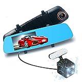 Podofo Full HD 1080p ドライブレコーダー ミラー型 フロントカメラ170度広角 リアカメラ120度広角 5.0インチ液晶モニター G-センサー 動き検出 暗視機能 ループ録画 駐車監視