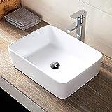 洗面ボウル Lifinsky 洗面台 白陶器製 手洗いボウル 角形洗面器 ベッセル式 手洗器 排水金具付き 3点セット 47x36x13cm
