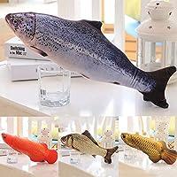 FidgetGear 非現実的で大きい現実的な相互魚猫のキッカーの狂気のおもちゃCatnipペットおもちゃ サーモン