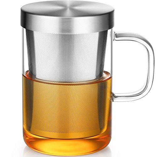 450ml 耐熱ガラス マグカップ スーパーステンレス茶漉し付き 蓋付き セラミックス ワンカップ ティーメーカー 日本茶、紅茶、中国茶、ハーブティー オフィス用 Nature Park