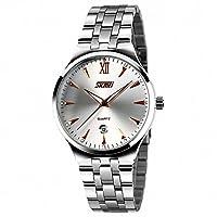 SKMEIユニセックスメンズビジネスクオーツ腕時計stainless-steelストラップ自動日付防水クラシックデザイン+ボックス