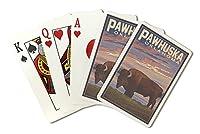 Pawhuska、オクラホマ–バッファローとサンセット( Playingカードデッキ–52カードPokerサイズwithジョーカー)