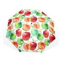 マキク(MAKIKU) 折り畳み傘 軽量 レディース おりたたみ 傘 メンズ 手動 大きい 手開き 耐風 薄型 梅雨対策 頑丈な8本骨 丈夫 収納ケース付 リンゴ 林檎柄