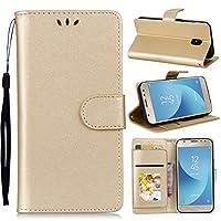 Samsung Galaxy J7 (2017) J730 (European Version) - Protective アクセサリー レザーケース Leather Case/Cover / Bumper/Skin / Cushion - Fashion Art Collection (Golden)