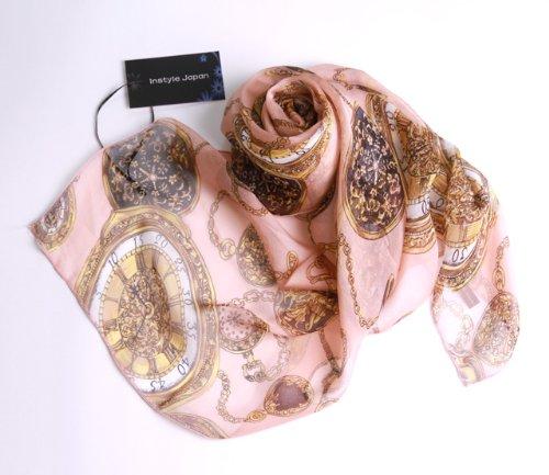 シルク100%スカーフ小さめ【SSサイズ】65×65cmバンダナバッグネッカチーフポケットチーフ首もと暖か選べる23色(エレガントピンク)絹UV防寒シフォン天然素材[InstyleJapan]