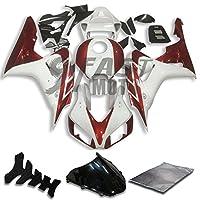 9FastMoto honda ホンダ 2006 2007 CBR1000 RR 06 07 CBR1000 RR 用フェアリング オートバイフェアリングキット ABS 射出成形セット スポーツバイク カウル パネル (ホワイト & オレンジ) H0813