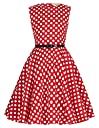 子供服 女の子ドレス 50年代レトロ ポルカドット 袖なし ラウンドネック 普段着 ワンピース 11 150cm