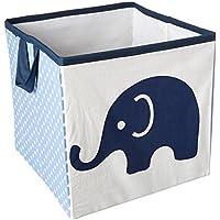 Bacati Elephants Storage Tote Basket, Blue/Grey, Small by Bacati