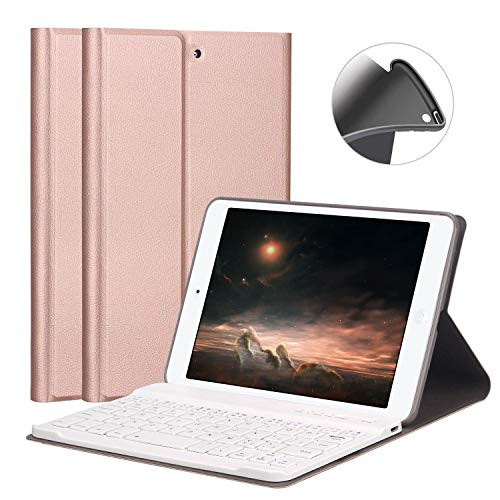 FUNDA ipad miniケース キーボード iPad mini2/mini3 専用 FUNDA レザー 脱着式 超薄 キーポート付け保護ケース 指紋防止 スタンド 全面保護カバー(ローズゴールド)