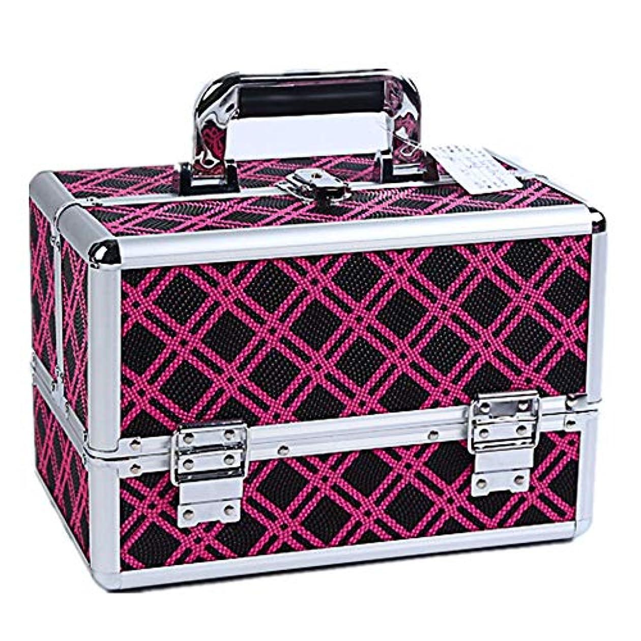 巻き戻すバレエプロトタイプ化粧オーガナイザーバッグ 美容メイクアップと女の子の女性のための大容量ポータブル化粧ケースケースと拡張トレイ付きロック付き日々のストレージ 化粧品ケース
