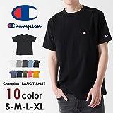 Champion(チャンピオン)tシャツ ロゴ定番無地Tシャツ チャンピオン Tシャツ CHAMPION T-SHIRTS メンズ レディース 日本モデル champion t-shirts 無地 ワンポイント ロゴ 半袖 tシャツ C3-H359 (L, ブラック(090))