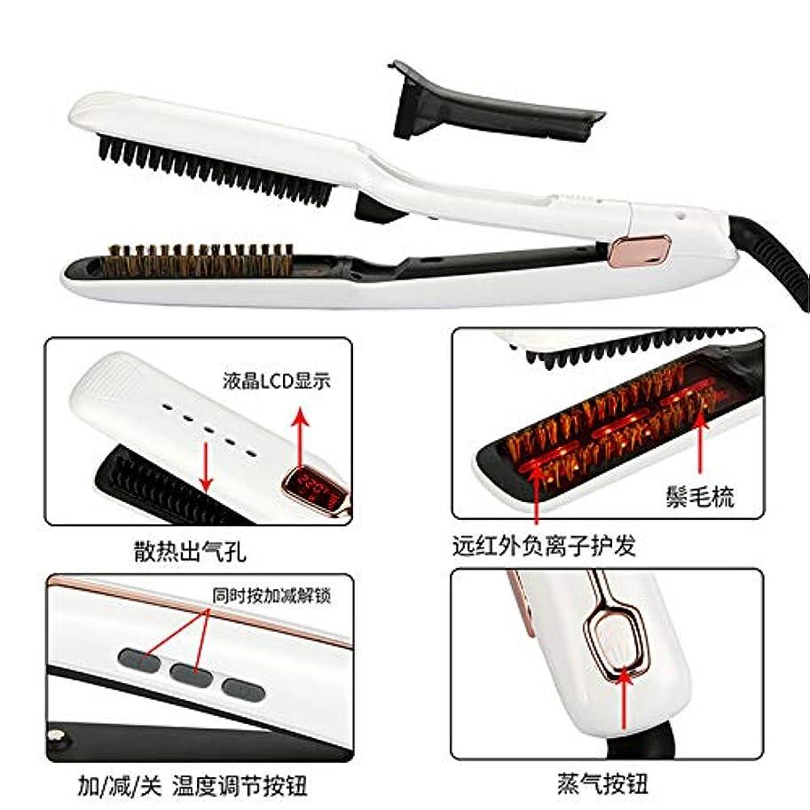 服異形代替案多機能スプレーストレートヘアくし、大カーリングアイロン、赤外線スチームストレートヘアウェーブ,白