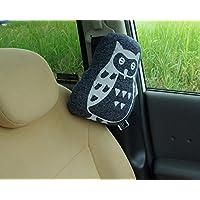 車用 ふくろう柄 シートベルトクッション「ルース シートベルト枕」約28×20cmネイビー(#9410769)