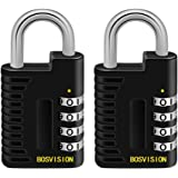 Bosvision [2 Pack] [4-Digit] [Combination Padlock] with 6.4mm Shackle