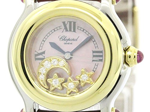 [ショパール]Chopard【CHOPARD】ショパール ハッピースポーツ ダイヤモンド ピンクシェル文字盤 K18 ゴールド ステンレススチール レザー レディース 時計27/8246-42(BF110211)[中古]