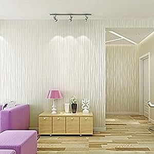SMILE DIY 3D立体 壁紙 シール 簡単 模様替え のり付き 壁紙シール 不織布 はがせる 壁紙 ストライプ柄 月光の森 53cmx5m (オフホワイト)