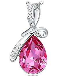 ネックレス レディース ピンク クリスタル ペンダント ジュエリー プレゼント 女性 誕生日 記念日 バレンタインデー 母の日 45cm + 5cm