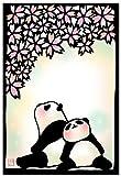 切り絵ポストカード 「春うらら」 パンダのイラスト 絵葉書