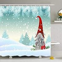 シャワーカーテン用バスルーム66x72グレーニッセトラディショナルクリスマスノームトムテビアードホリデーレッドハットスノーかわいいエルフ北欧冬防水ポリエステルファブリックバス装飾セットフック付き 200X180 CM