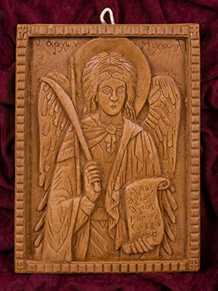 手伝う取り壊すインフルエンザ大天使ミカエル 手彫り アロマギリシャ正教 オーソド派 アイコン 飾り板 マウント?アソスのピュア蜜蝋 マスティック お香