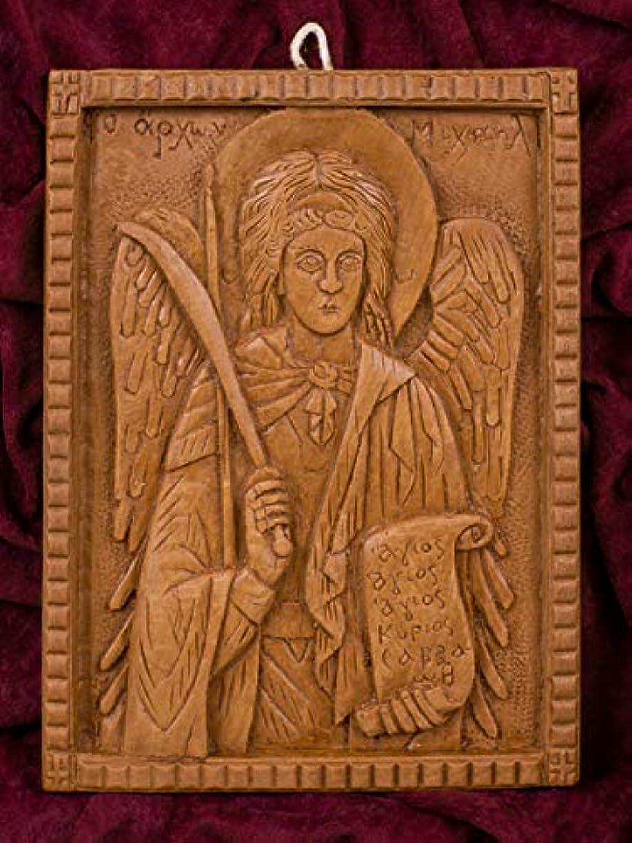 複雑な守る親大天使ミカエル 手彫り アロマギリシャ正教 オーソド派 アイコン 飾り板 マウント?アソスのピュア蜜蝋 マスティック お香