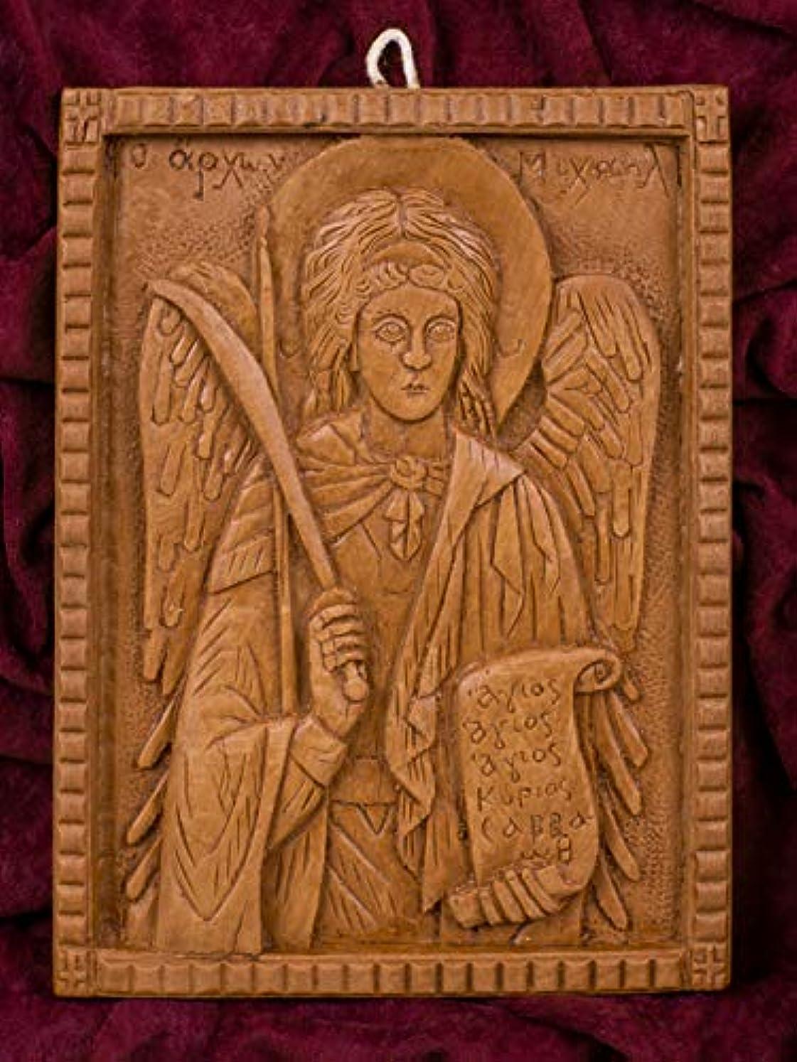 青忙しいブラシ大天使ミカエル 手彫り アロマギリシャ正教 オーソド派 アイコン 飾り板 マウント?アソスのピュア蜜蝋 マスティック お香