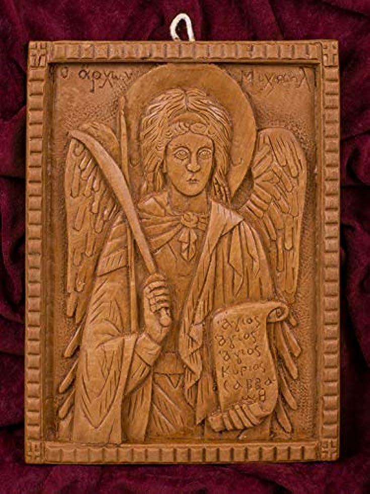 大天使ミカエル 手彫り アロマギリシャ正教 オーソド派 アイコン 飾り板 マウント?アソスのピュア蜜蝋 マスティック お香