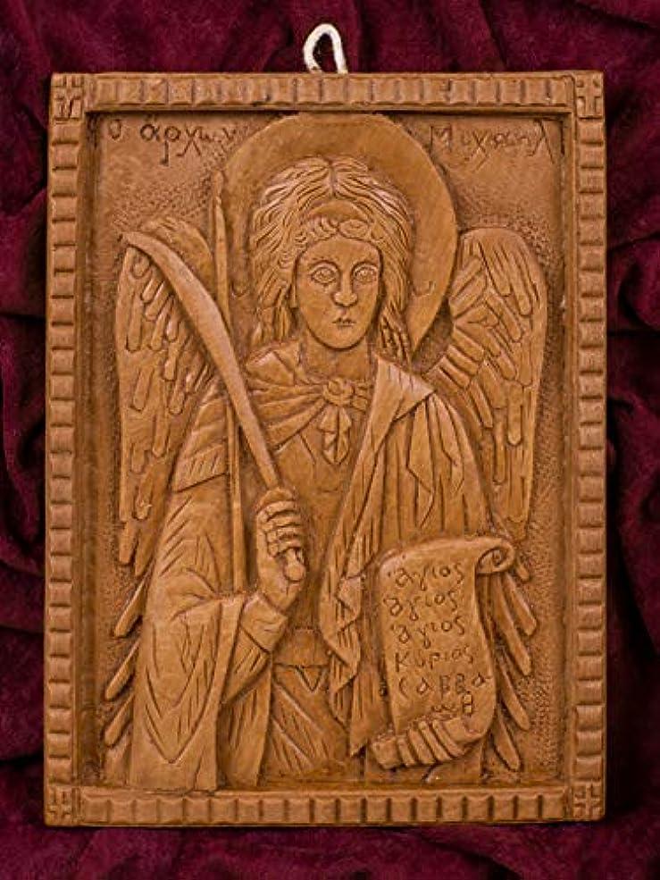 コンテストラウズシュート大天使ミカエル 手彫り アロマギリシャ正教 オーソド派 アイコン 飾り板 マウント?アソスのピュア蜜蝋 マスティック お香