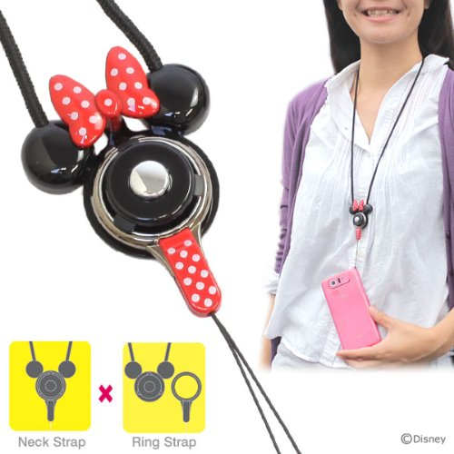HandLinker ハンドリンカー Disney ディズニー キャラクター モバイル 携帯ストラップ ネックストラップ 落下防止 (ミニー)