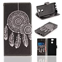 Sony XZ1 Wallet Movie Stand ケース, Art Paint Hand Strap カバー[Money Credit Card ID Slots] TAITOU New Soft PU Leather Light ケース For Sony Xperia XZ1 Your Dreamcatcher