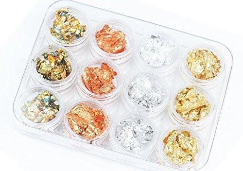 金さんの店 ジェルネイル用品 ゴールドシルバー銅レインボー箔  金箔 銀箔 12ボックス...