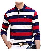 ポロシャツ 長袖 メンズ ボーダー ゴルフ ゴルフウェア メンズ ビジネス ボーダーシャツ 速乾 おしゃれ ファッション 春秋 2XL レッドA