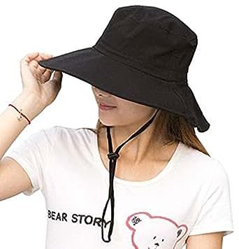 後ろ リボン が可愛い 紫外線防止 つば広タイプ UVカット帽子 あご紐 取り外し可能 レディースハット 婦人帽 (オフホワイト ベージュ ブラック ) (ブラック)