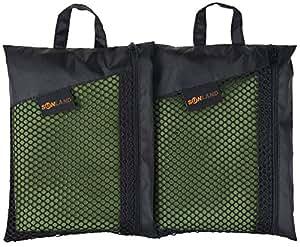 Sunland スポーツ タオル マイクロ ファイバー 超 吸水 速乾 旅行 タオル ジム 登山 便携 フェイス タオル (緑 30cmx60cmx2パック)
