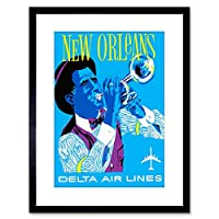Travel America Air Line New Orleans Jazz Framed Wall Art Print