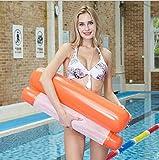 大人と子供のための水泳フロート椅子折り畳み式のフローティングハンモック水ハンモックラウンジチェアフロートインフレータブルエアマットレスプールアクセサリー,オレンジ色