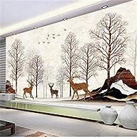 Hxcok カスタム写真壁紙防水大理石パターンエルクの森壁画モダンなリビングルームのソファテレビの背景壁紙家の装飾-200X140CM
